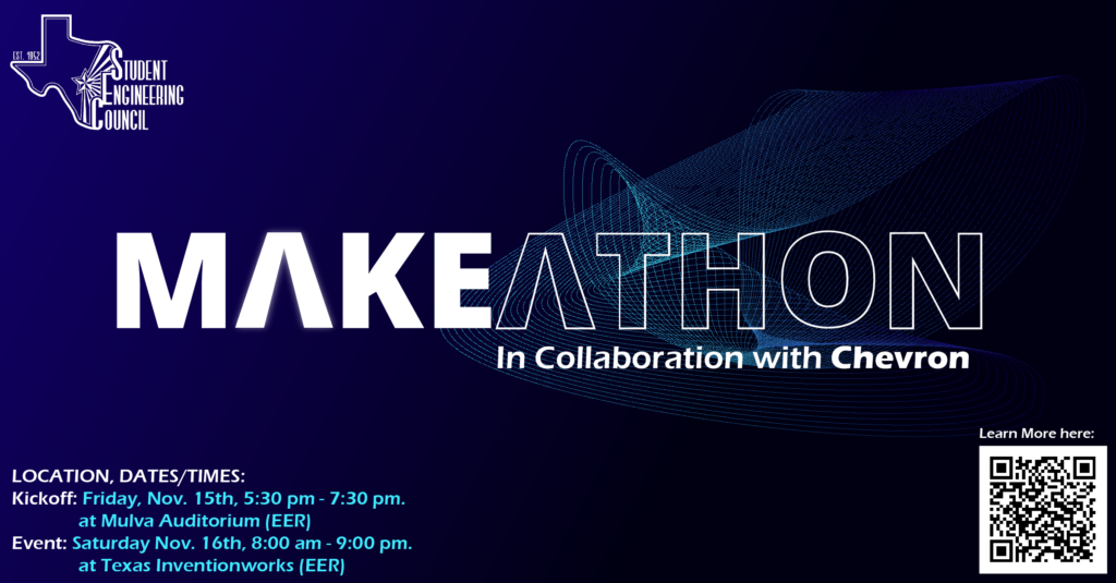 This was our graphic for the Makeathon event that took place in November. We were able to get more attendees because of our poster that we put up in the EER lobby!