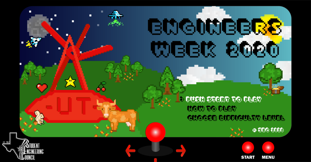 This was the Facebook cover photo for E-Week 2020, and due to the theme being retro video games/8-bit, we decided to keep the theme for all our graphics as pixelated!